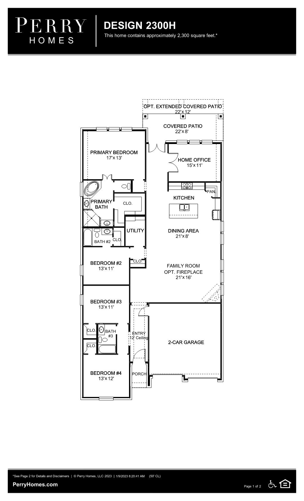 Floor Plan for 2300H