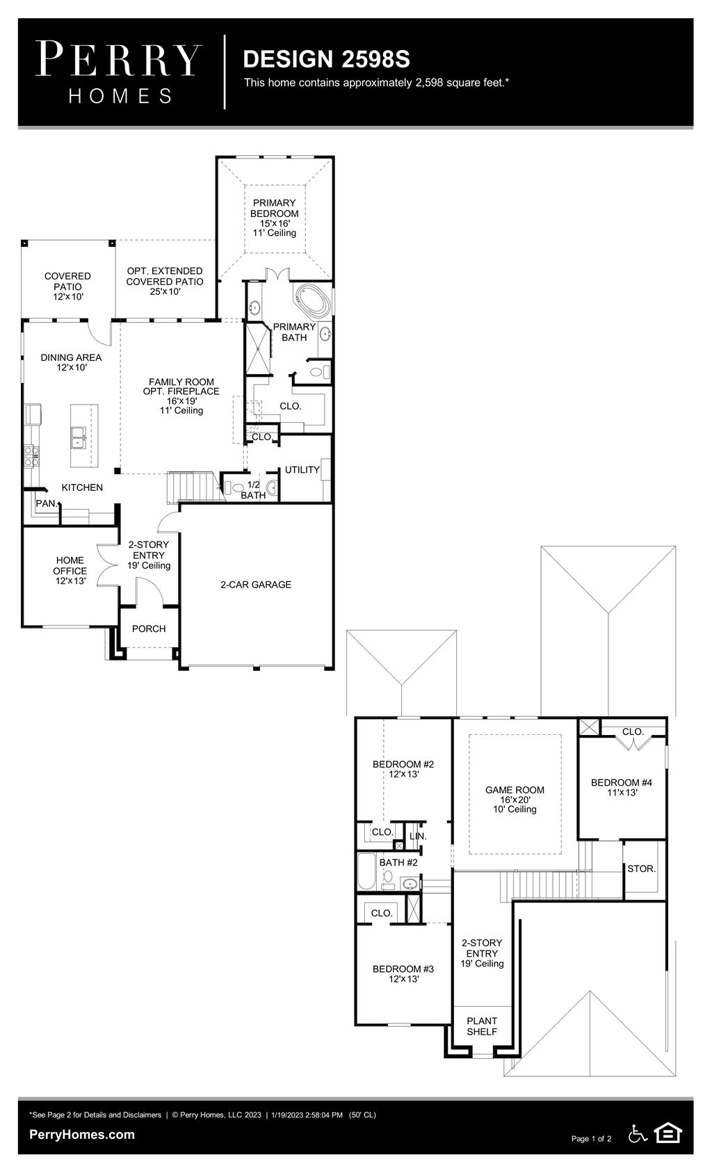 Floor Plan for 2598S