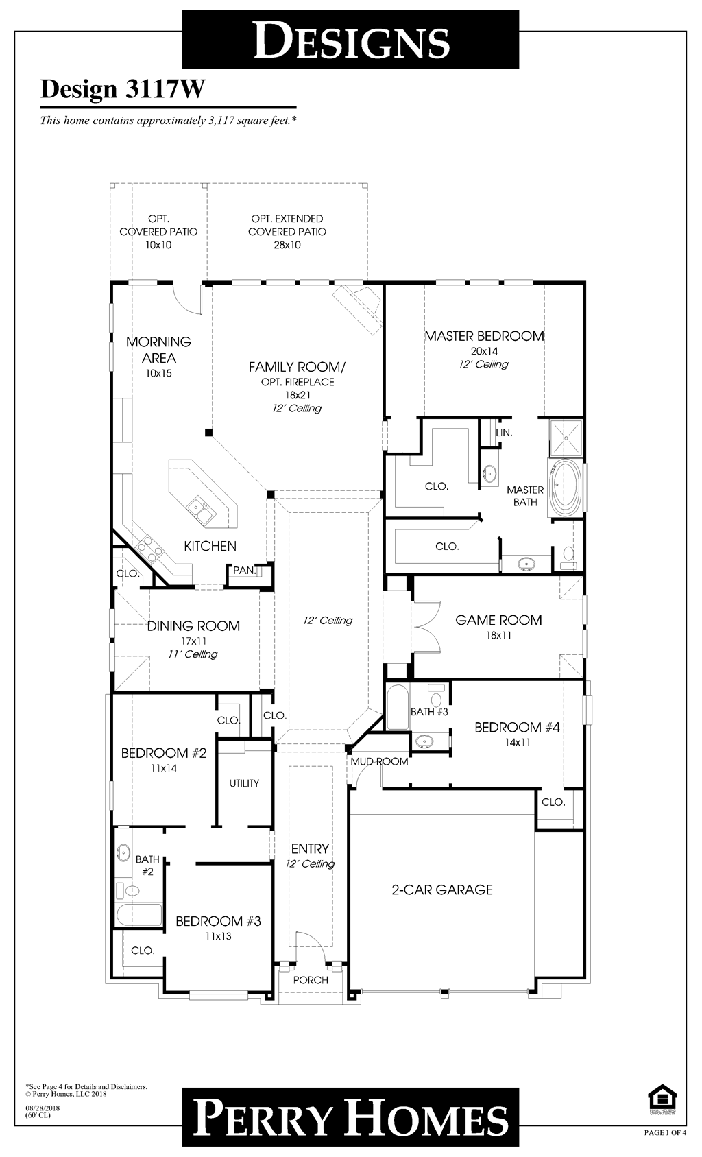 Available to build in Southlake 60 Design 3117W – Perry Homes Floor Plans Houston