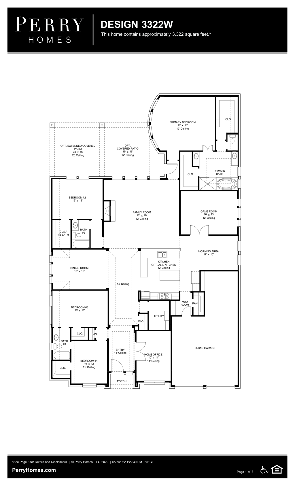 Available to build in Cross Creek Ranch 65\' | Design 3322W | Perry Homes