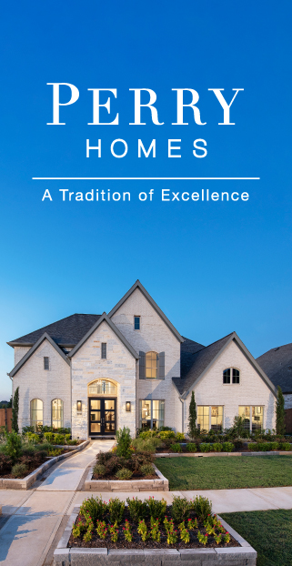 Perry Homes logo set on blue sky with exterior image of a one story beige stucco home