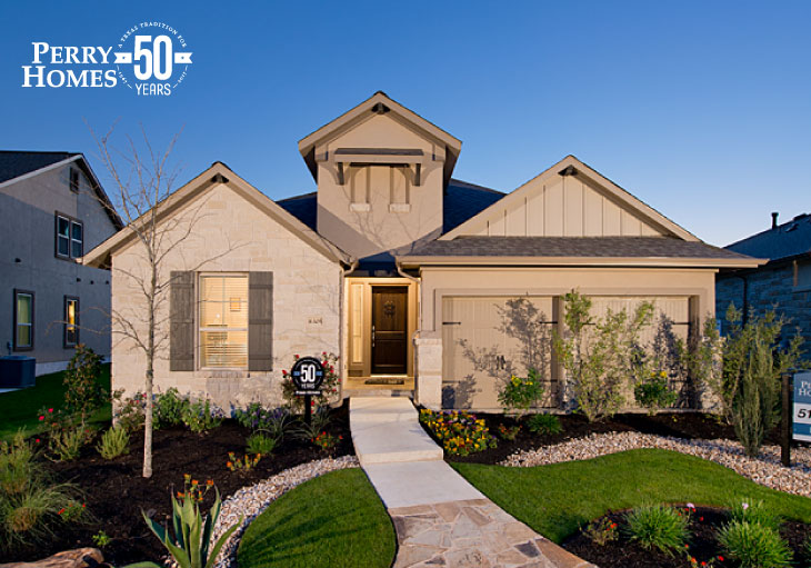 exterior of a one story home with beige stucco and light beige stone and dormer