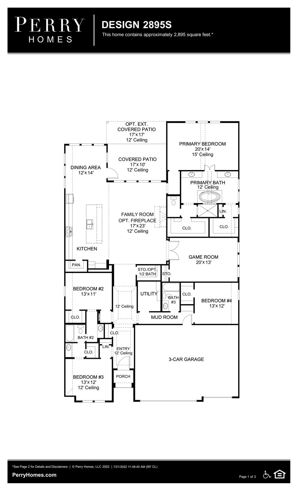 Floor Plan for 2895S