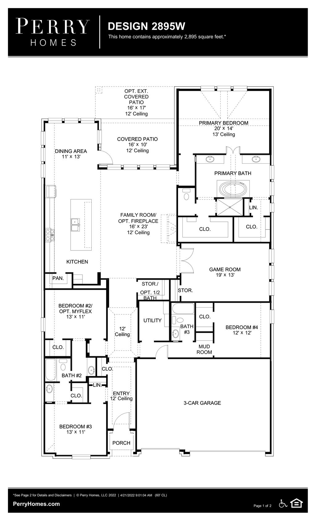 Floor Plan for 2895W