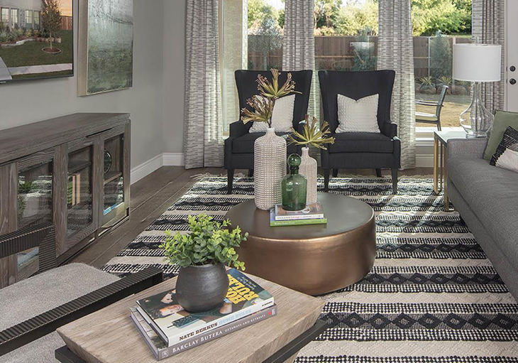 Beautiful living room from Perry Homes in Texas featuring indoor plants, succulents, earth tones and other nature inspired de