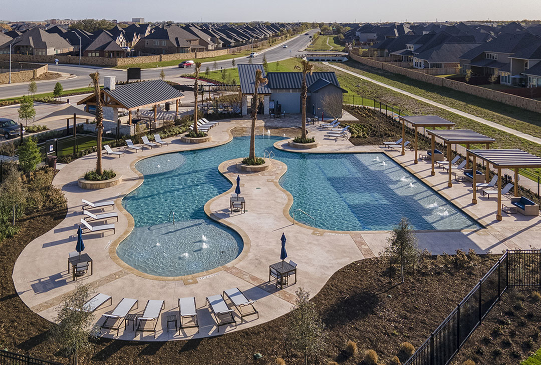 Aerial image of new amenity center in Kallison Ranch