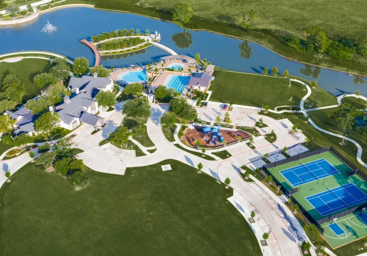 An aerial view of The Club at Mustang Lakes in Celina, TX
