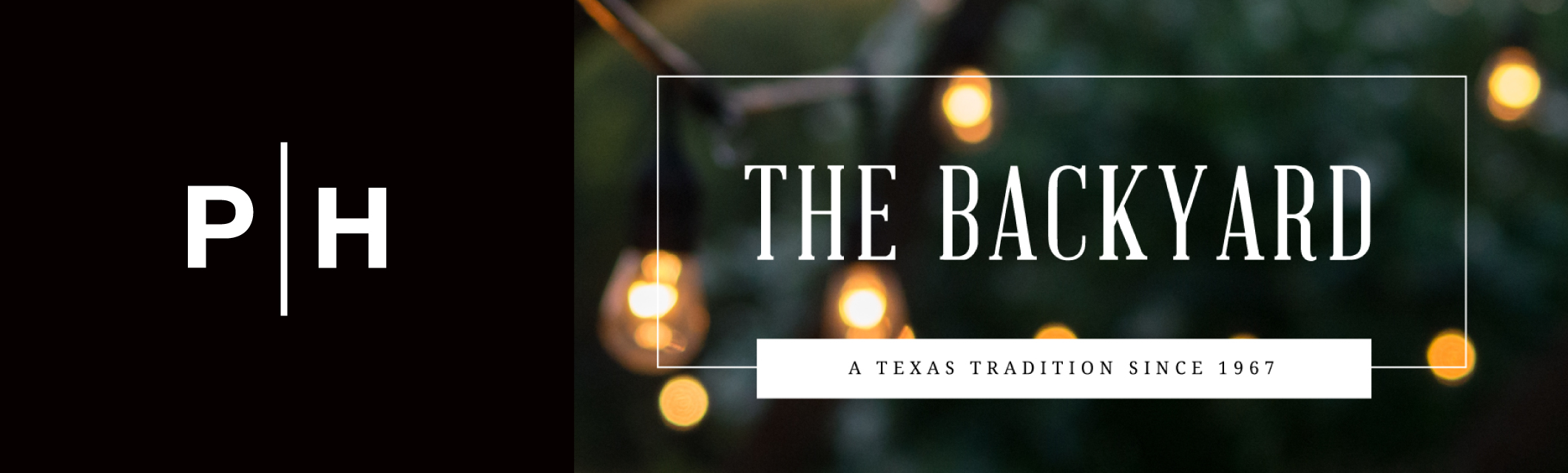 the backyard blog logo with photo of patio edison light bulbs at dusk