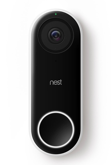 front view of black nest brand doorbell