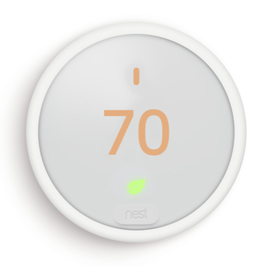 front view of white nest brand home thermostat
